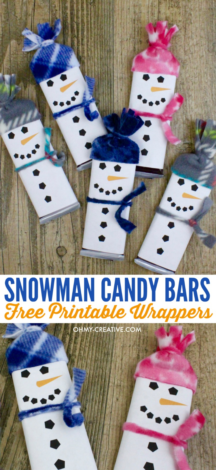 Adorable Snowman Candy Bar Treats with Snowman Free Printable candy bar wrapper template - a perfect kids treat for friends, classroom treat or stocking stuffer - a great Christmas kids craft too! OHMY-CREATIVE.COM