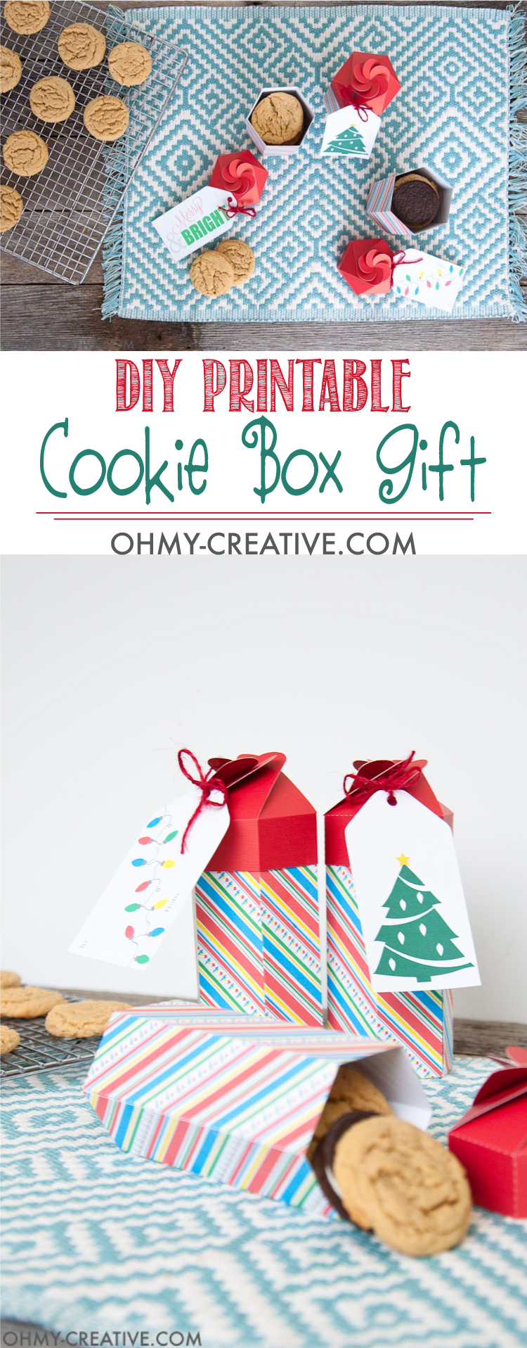 Need a last minute gift for neighbors or friends? These Christmas folded treat boxes are perfect for filling with your favorite cookies. The printable file is ready for you to make this DIY cookie box gift today! | OHMY-CREATIVE.COM