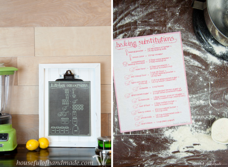 Give the gift of baking with these free printable kitchen helpers. A kitchen conversion chart and a baking substitutions chart combined with your favorite kitchen gadgets will have them ready to cook. | Housefulofhandmade.com