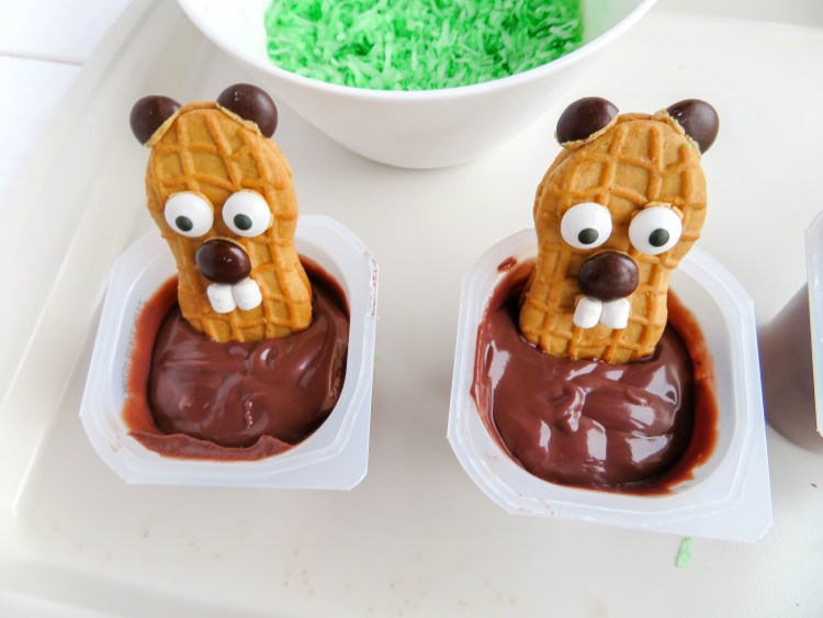These HAPPY GROUNDHOG DAY PUDDING CUPS are the cutest for preschoolers and kindergarten kids! The kids will love to eat these Punxsutawney Phil Nutter Butter treats! | OHMY-CREATIVE.COM