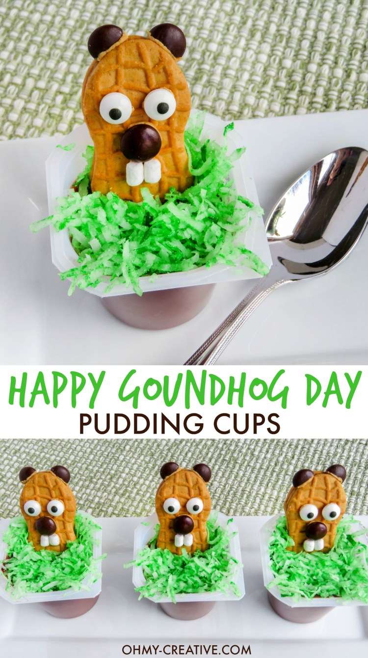 These HAPPY GROUNDHOG DAY PUDDING CUPS are the cutest for preschoolers and kindergarten kids! The kids will love to eat these Punxsutawney Phil Nutter Butter treats!   OHMY-CREATIVE.COM