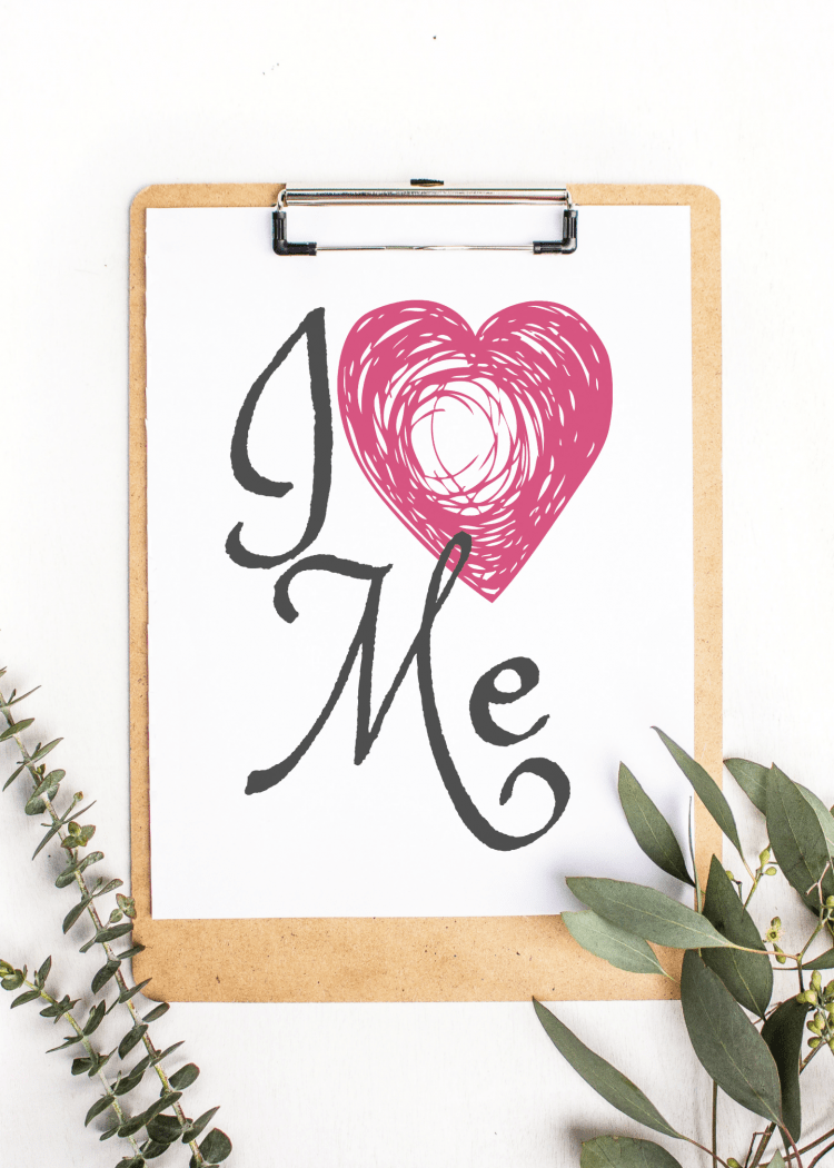I Love Me Quote Free Printable! A daily reminder to take care of yourself! | OHMY-CREATIVE.COM | Printable | free printable | motivation quote | heart printable | love | love myself |