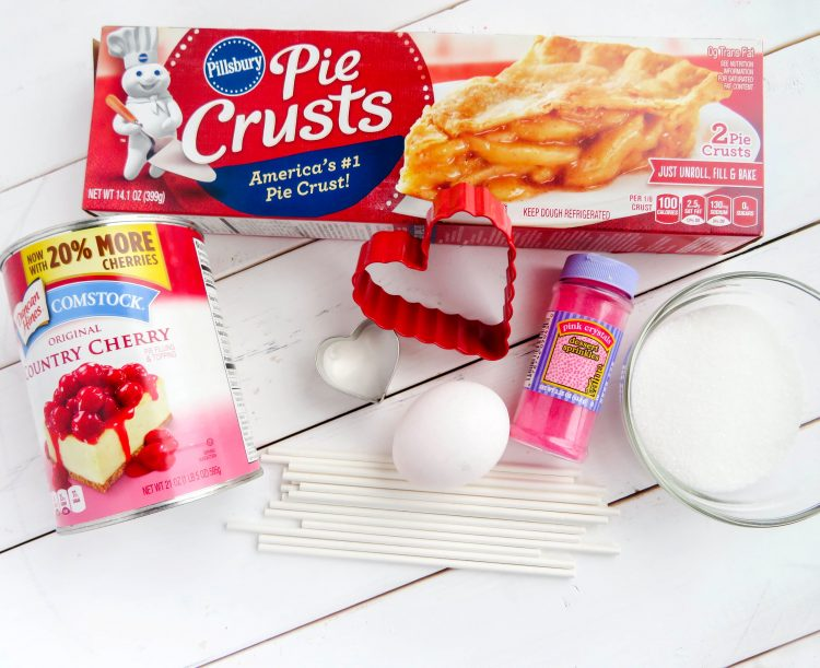 Mini Cherry Pies - Heart Pie Pops - A sweet Valentine's Day Treat! OHMY-CREATIVE.COM | Heart Shaped | Valentine's Day Dessert | Cherry Pie Ingredients
