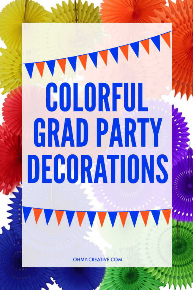Colorful Grad Party Decorations to host an amazing graduation party! OHMY-CREATIVE.COM | graduation party decoration | grad party | high school graduation | nursing school graduation | college graduation | party decorations | tissue paper pom pom | tissue paper pinwheels | paper straws | plastic plates | rainbow