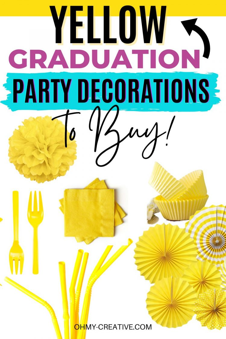 Yellow Graduation Party Decorations to match your school colors. Pictured: plastic silverware, paper napkins, tissue paper pom poms, tissue paper pinwheels, paper straws, paper plates, and graduation party signs!
