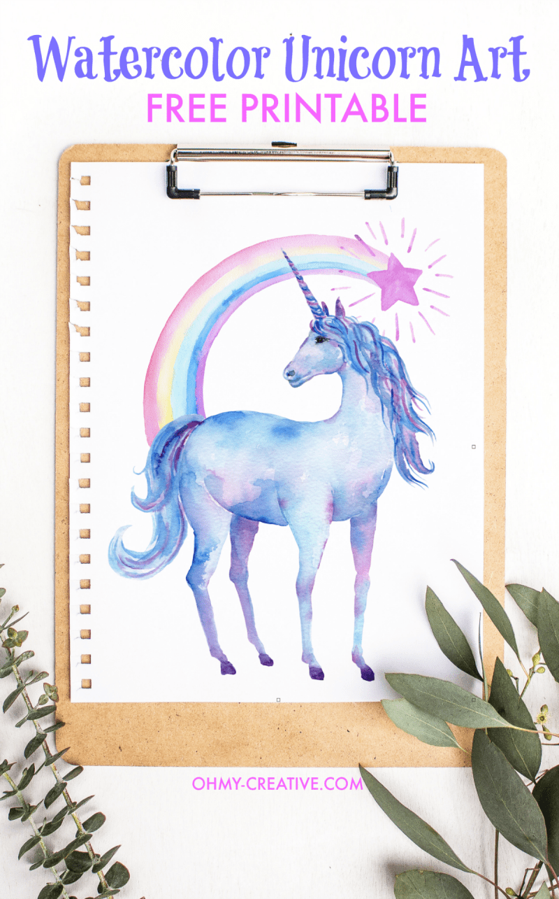 Free Printable Watercolor Unicorn Pictures | Unicorn Art | OHMY-CREATIVE.COM | Rainbow Unicorn Artwork | Girls Room Decor | Unicorn Art for Kids | Rainbow Artwork for Kids