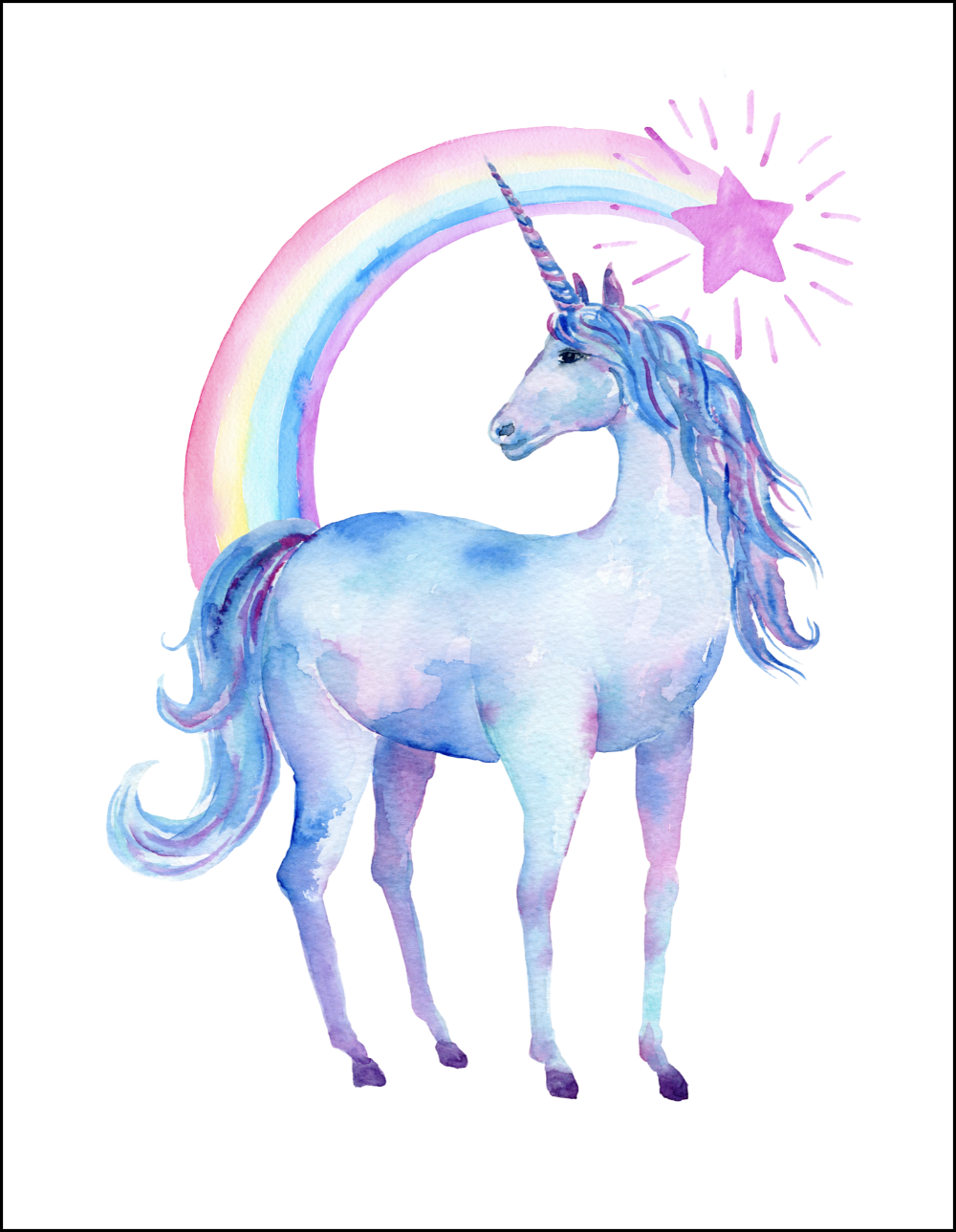 graphic regarding Printable Unicorn Pictures titled Totally free Printable Watercolor Unicorn Illustrations or photos - Oh My Resourceful