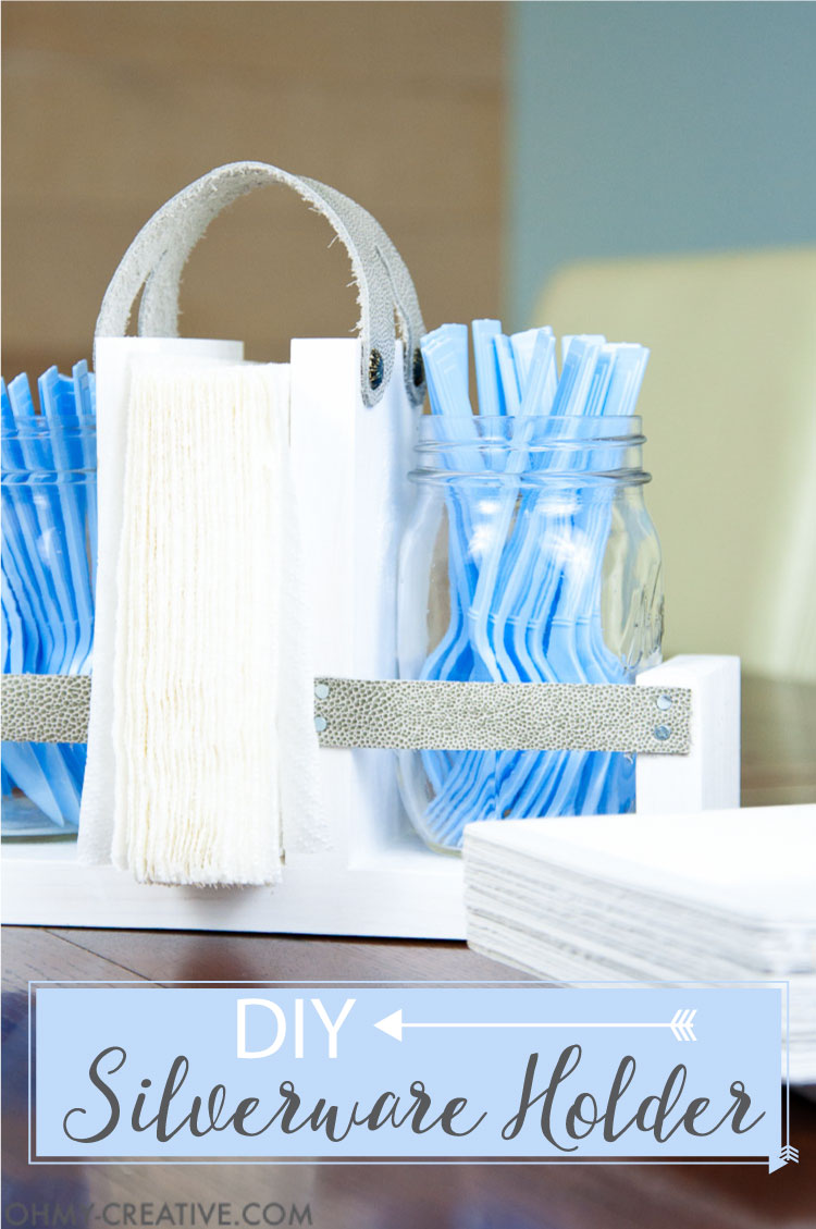 Get ready for lots of outdoor entertaining with this easy DIY silverware holder. A wooden frame is accented by leather and mason jars. OHMY-CREATIVE.COM   Utensil Holder   Silverware Caddy   Free Build Plans   Scrap Wood Ideas   Mason Jar Crafts