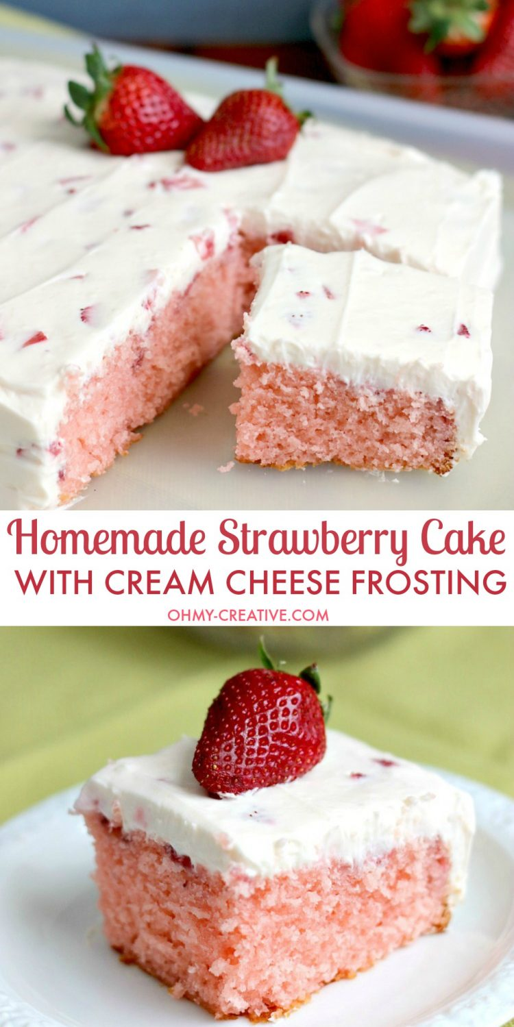 This Strawberry Cake With Whipped Cream Cheese Frosting is bursting with fresh strawberry flavor. A perfect dessert for any occasion spring or summer. OHMY-CREATIVE.COM | strawberry sheet cake | strawberry cake from scratch | homemade strawberry cake | fresh strawberry cake | whipped cream cheese frosting | spring dessert | summer dessert | dessert recipe | fresh strawberries | sheet cake recipe |