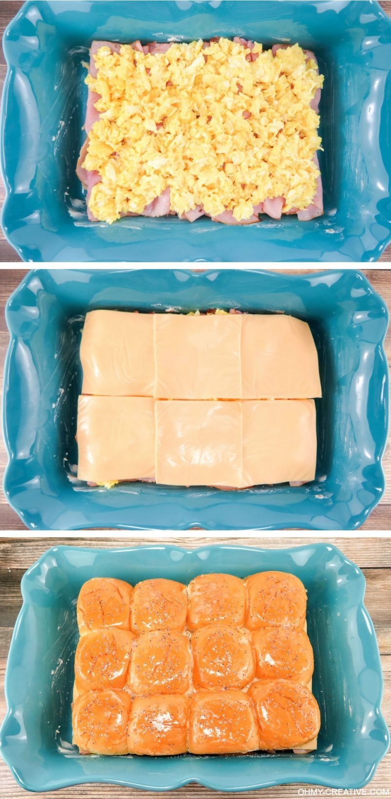 These Breakfast Hawaiian Ham and Cheese Sliders are perfect to serve for breakfast, brunch or dinner! OHMY-CREATIVE.COM | game day sliders | brunch sliders | breakfast sliders | egg sliders | ham and cheese sliders | egg recipe | breakfast recipe | brunch recipe | Kings Hawaiian rolls | kings Hawaiian sliders