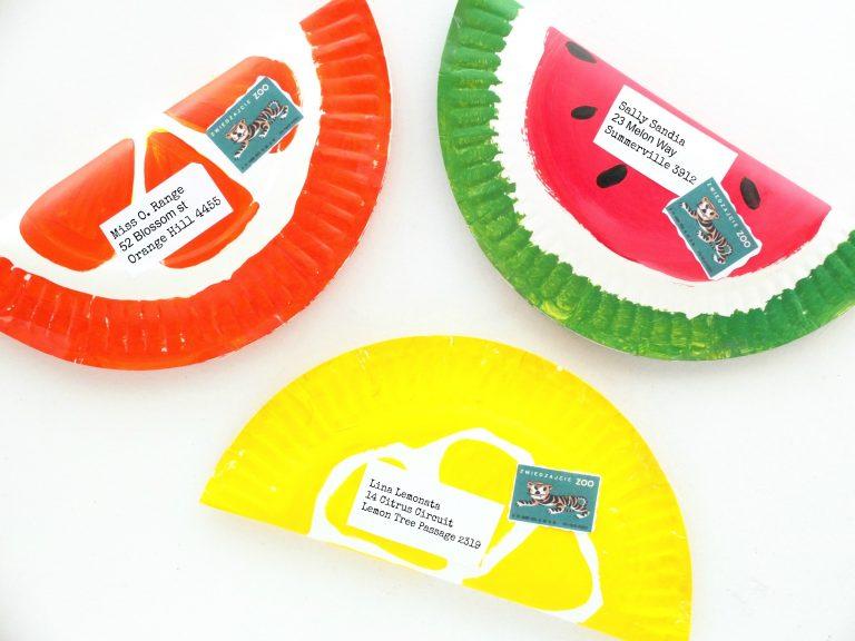 Paper Plate Fruit Envelope Craft | 20 PAPER PLATE CRAFTS FOR KIDS | OHMY-CREATIVE.COM | kids crafts | paper plates | preschool crafts | kindergarten crafts | school kids crafts | Under the sea crafts | paper plate animal crafts | rainbow craft | olympics craft | watermelon craft | monster craft | paper craft
