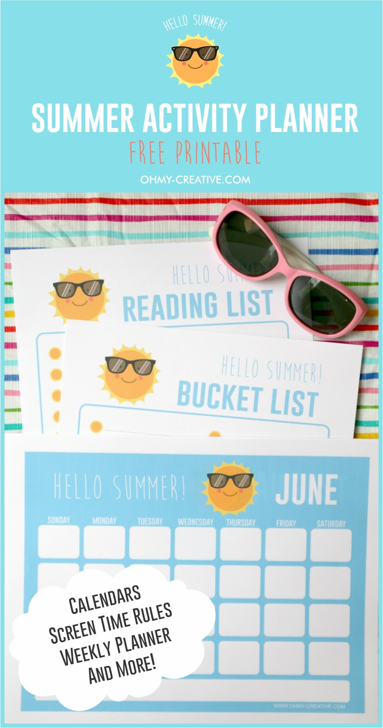A fun Summer Activities For Kids Planner Printable that will help you keep all of your family's summer activities organized. | OHMY-CREATIVE.COM | Summer Printable | Calendar Printable | Summer Reading List Printable | Summer Bucket List Printable | Tech Rules Printable for Kids | kids Printables | Kids Chore List Printable | Kids Summer Activities