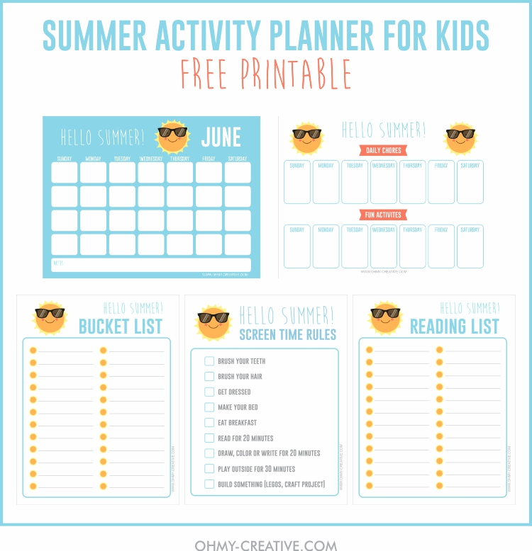 photo relating to Screen Time Rules Printable referred to as Printable Summer time Pursuits For Young children Planner - Oh My Imaginative