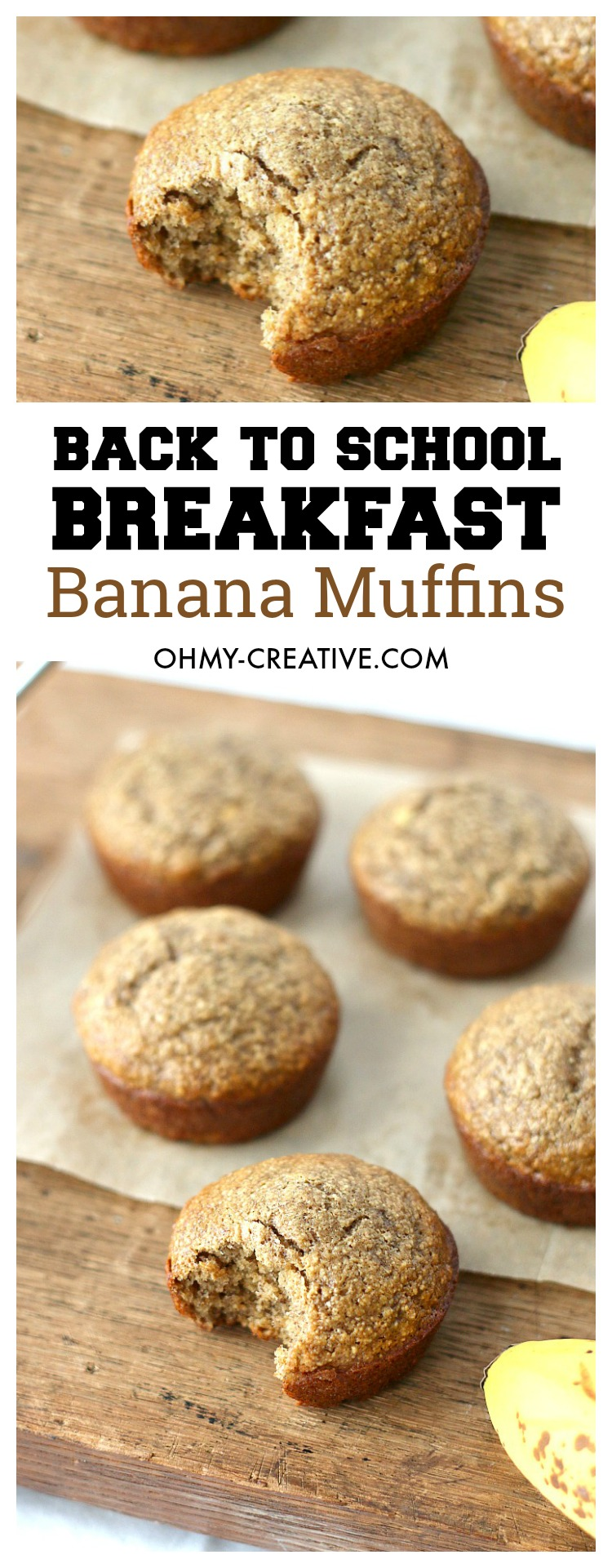 Banana Muffin Recipe | OHMY-CREATIVE.COM | Banana Muffins | Healthy Banana Muffins | Banana Muffins Recipe | Easy Banana Muffins | Breakfast Muffins | Breakfast ideas for Kids | Banana Muffins healthy | Back to school breakfast ideas