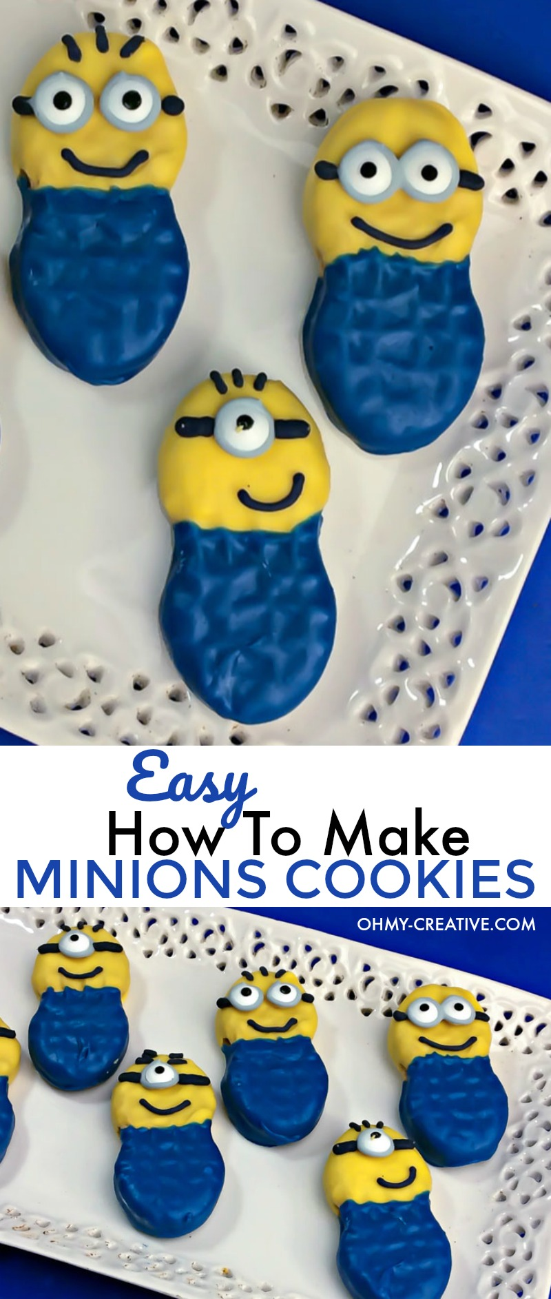 How to make Minions Cookies | OHMY-CREATIVE.COM | Minion Dessert | Minion Party | How to make Minion goggles | Minion Craft | Nutter Butter Cookies | Despicable Me
