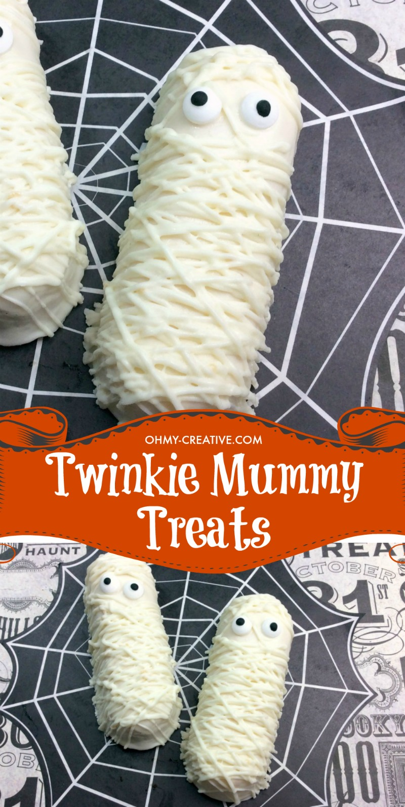 Finished Twinkie Mummy cakes - perfect Halloween party treats
