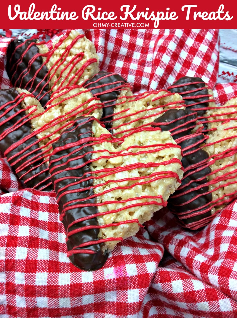 Valentine's Day Rice Krispie Treats   OHMY-CREATIVE.COM   Heart Shaped Rice Krispie Treats   Homemade Rice Krispie Treats   Dipped Rice Krispie Treats   Cute Valentine's Day Ideas