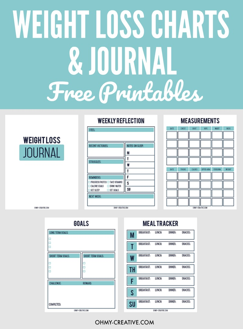 Declarative image for printable weight loss journals