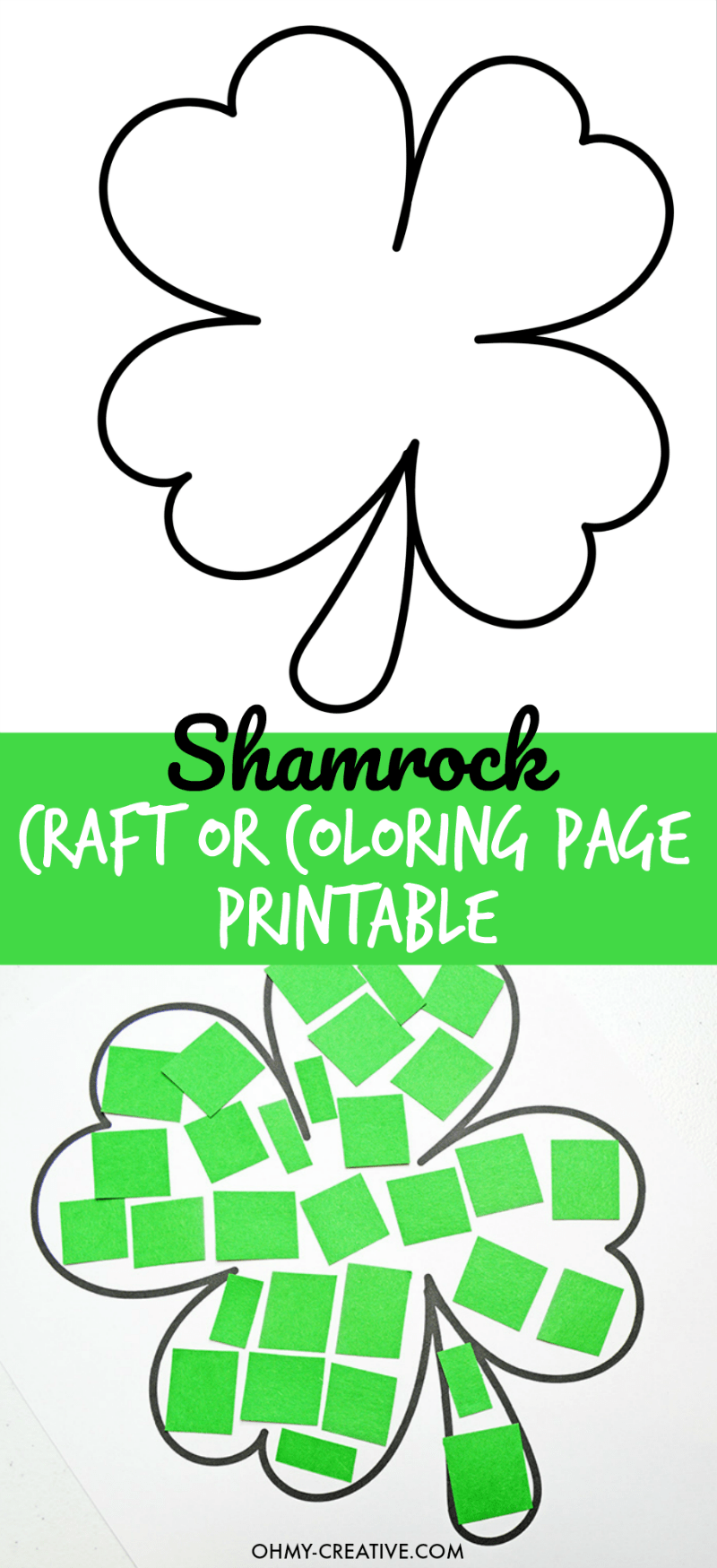 Cut And Paste Shamrock Template or Coloring Page - Oh My Creative