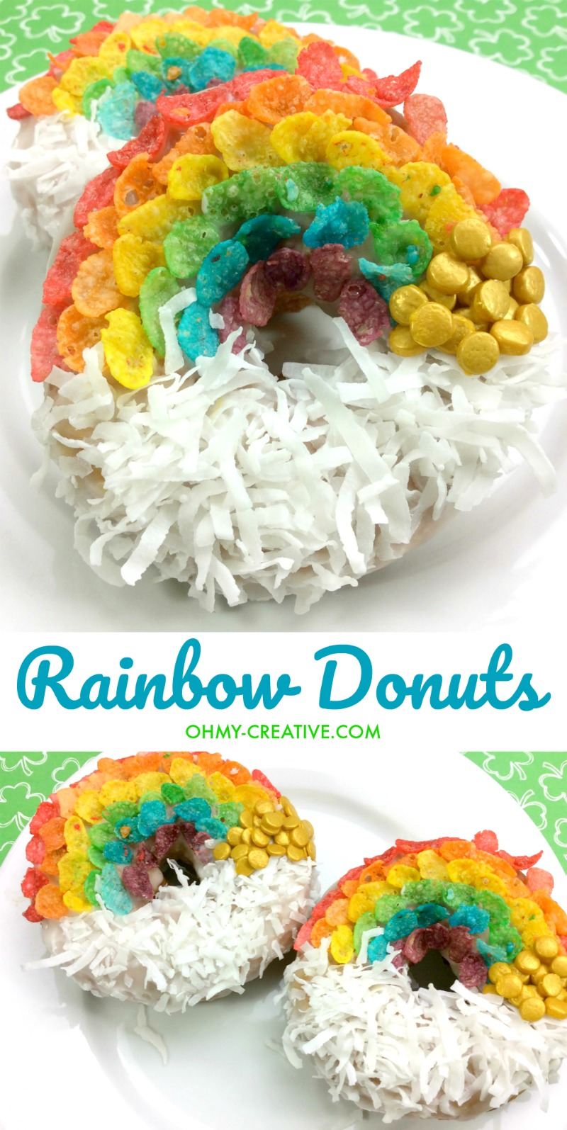 Rainbow Donuts | St. Patrick's Day Donuts | OHMY-CREATIVE.COM | St. Patrick's Day Donuts | St. Patrick's Day Food | St. Patrick's Day Party Ideas | St. Patrick's Day Desserts | St. Patrick's Day Treats | Doughnuts | Coconut Donuts