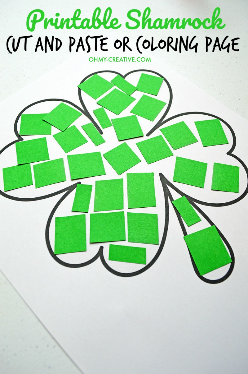 st patricks day crafts cut and paste shamrock template or coloring page oh my 5486