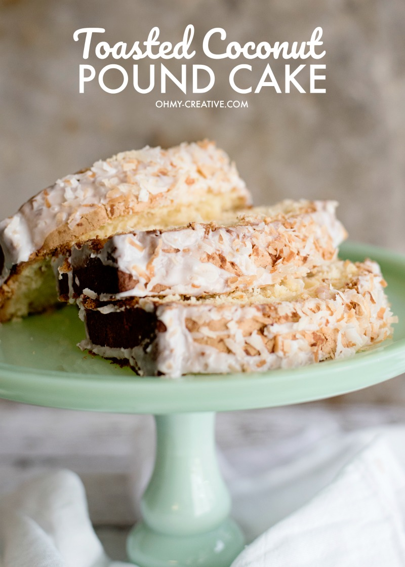 Toasted Coconut Pound Cake Recipe, sliced and displayed beautifully on a mint green cake plate.