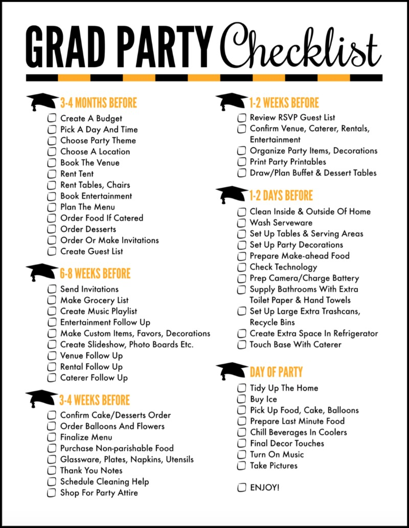 image relating to Printable Trunk Party Games named 30 Should really Crank out Commencement Celebration Food items Programs - Oh My Artistic