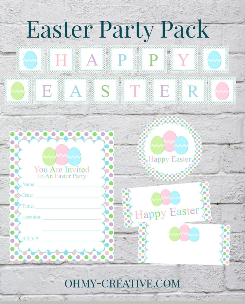 Easter Party Decorations | OHMY-CREATIVE.COM | Easter Party Invitations | Easter Banner Printable | Easter Cupcake Toppers | Easter | Easter Party Pack | Easter Table Decorations | Easter Party Ideas