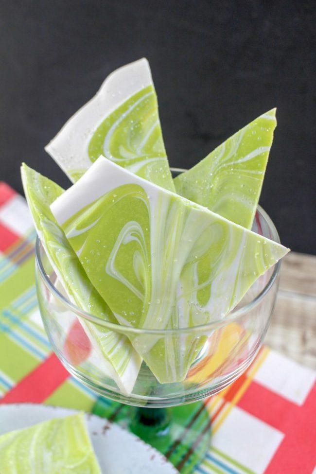 Margarita Bark Tequila Candy | OHMY-CREATIVE.COM | Boozy Candy | Candy Bark | Tequila | Cinco de Mayo | Alcohol Candy | Margarita Candy