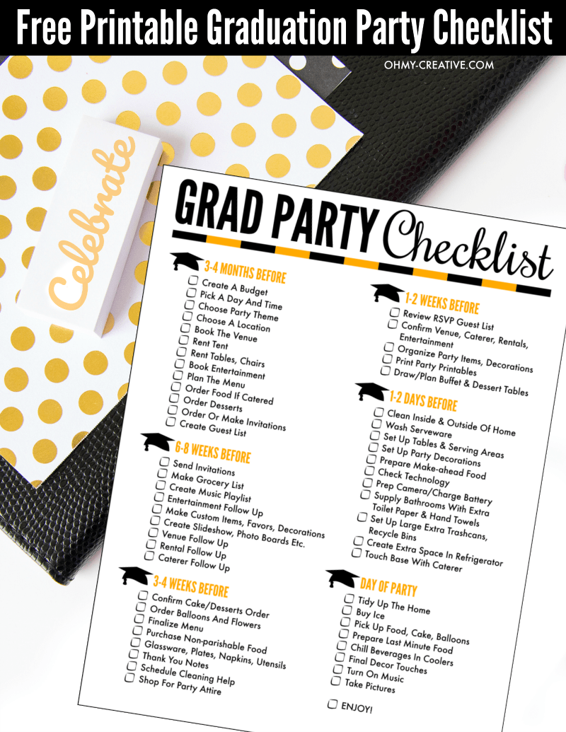 Free Printable Graduation Party Checklist pdf - a great help to planning any graduation party! OHMY-CREATIVE.COM | Graduation Party Ideas | How to plan a graduation party at home | High School Graduation Checklist | Graduation Party Planning Tips