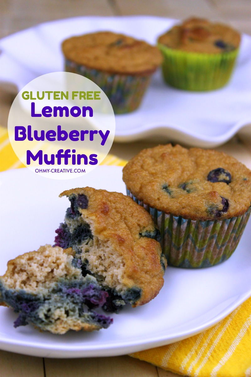 These Gluten Free Almond Flour Blueberry Muffins also have a delicious lemon flavor. A great low carb muffin too! OHMY-CREATIVE.COM | Lemon Blueberry Muffin | Muffin Recipe | #glutenfree #muffinrecipe #blueberrymuffin #almondflourrecipe #lowcarb