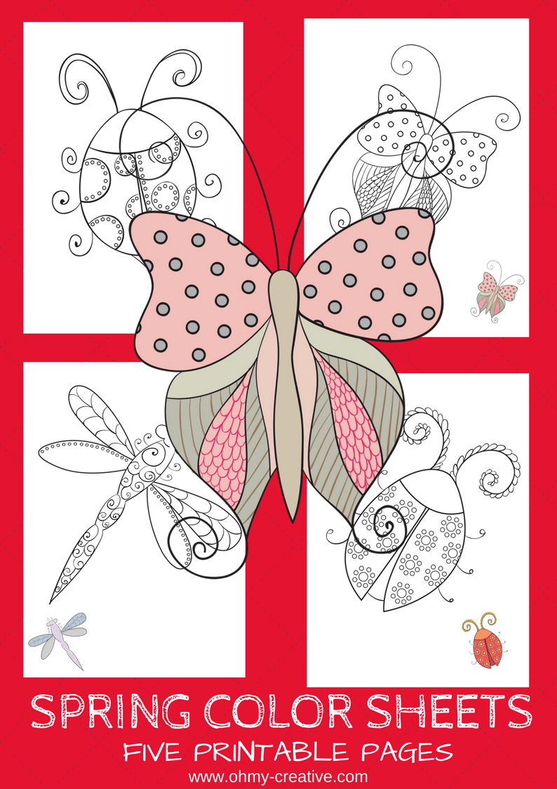 5 Free Printable Spring Coloring Pages - Oh My Creative