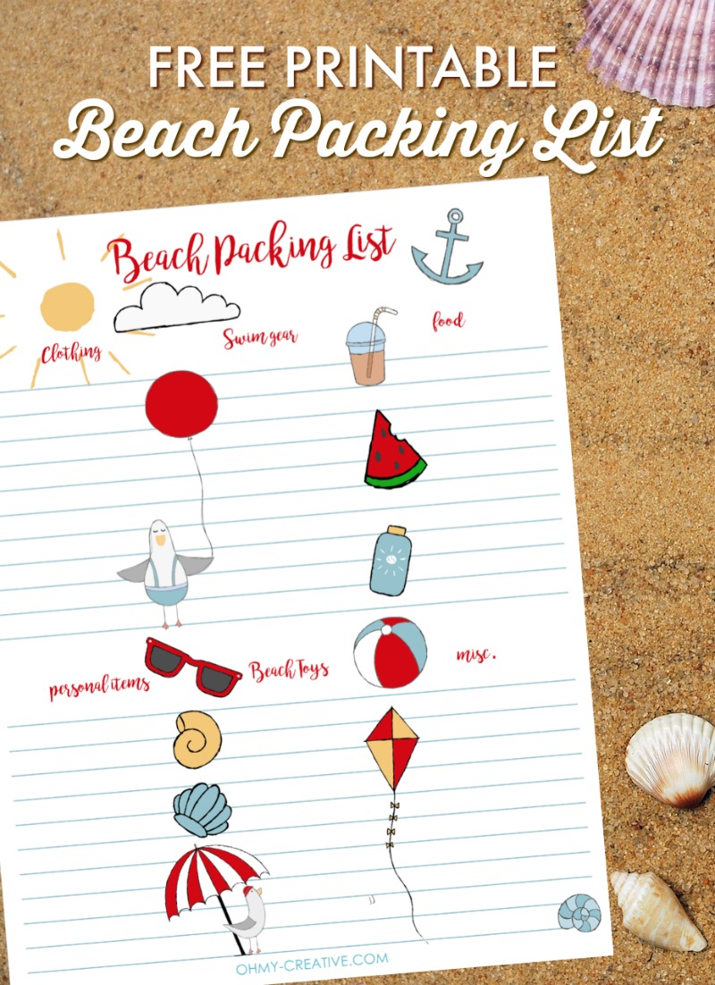photograph regarding Beach Printable titled No cost Beach front Packing Checklist Printable - Oh My Resourceful