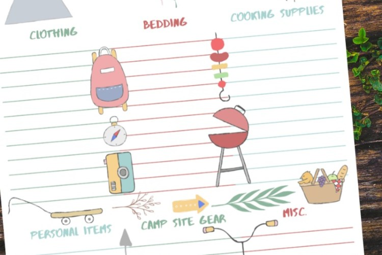Camping Packing List Free Printable on wood background
