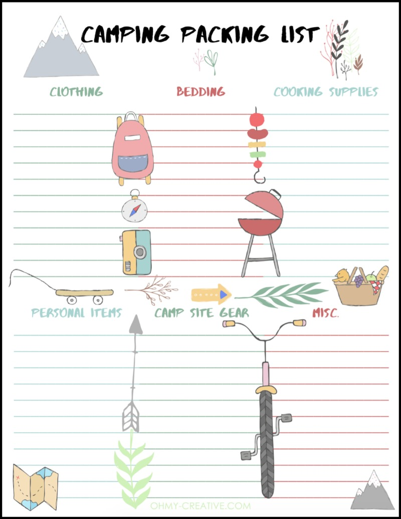 Camping Packing List Free Printable