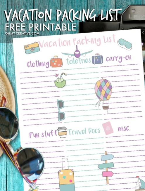 This Vacation Packing free printable is perfect as you prepare for your upcoming travels! OHMY-CREATIVE.COM   Travel Packing List   Vacation List   Printable Travel Packing List   Packing List #vacation #packinglist #travel #printable
