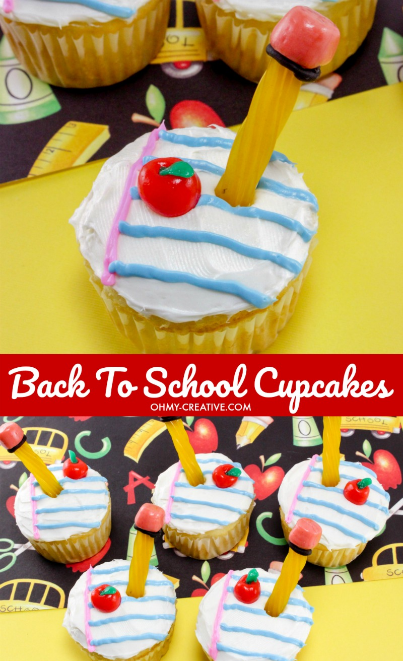 Adorable Back to School Cupcakes for the kids. Great for as last day of school cupcakes as well. OHMY-CREATIVE.COM | back to school cupcakes recipes | apple cupcakes | back to school treats back to school cupcake ideas | end of school cupcakes #schoolcupcakes #schooldesserts #backtoschool #cupcakes #schooltreats