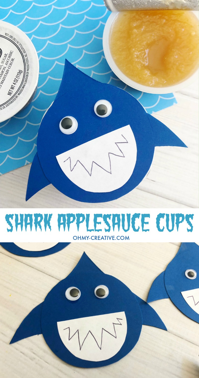 These Shark Applesauce Cups are a fun Shark Party Food or shark craft for kids. Great for Shark Week too! Shark Party | Shark Craft | Shark Food | Applesauce Cups | Applesauce | Shark Party Ideas #sharkweek #sharkparty #sharkpartyfood #applesaucecups