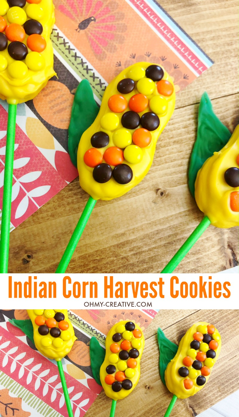 Harvest Indian Corn Cookies are a perfect treat to serve at any fall celebration or Thanksgiving! OHMY-CREATIVE.COM | Fall Cookies | Indian Corn | Fall Desserts | Cookie Pops | Nutter Butter Cookies | #indiancorn #indiancorncookies #falldessets #fallcookies #harvestcookies