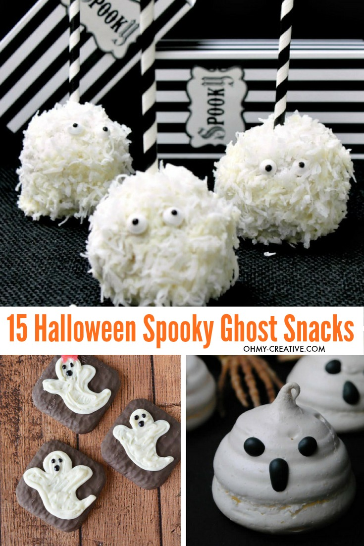 Make one or more of these 15+ Spooky Ghost Snacks and Ghost Treats for Halloween! OHMY-CREATIVE.COM | Halloween Party Food Ideas | Halloween Food | Ghost Desserts | Halloween Desserts | Ghost Snacks Halloween | #ghostsnacks #halloweenghosts #halloweenpartyfood #halloweendessert #ghosttreats #ghosts #halloweenfood #halloween