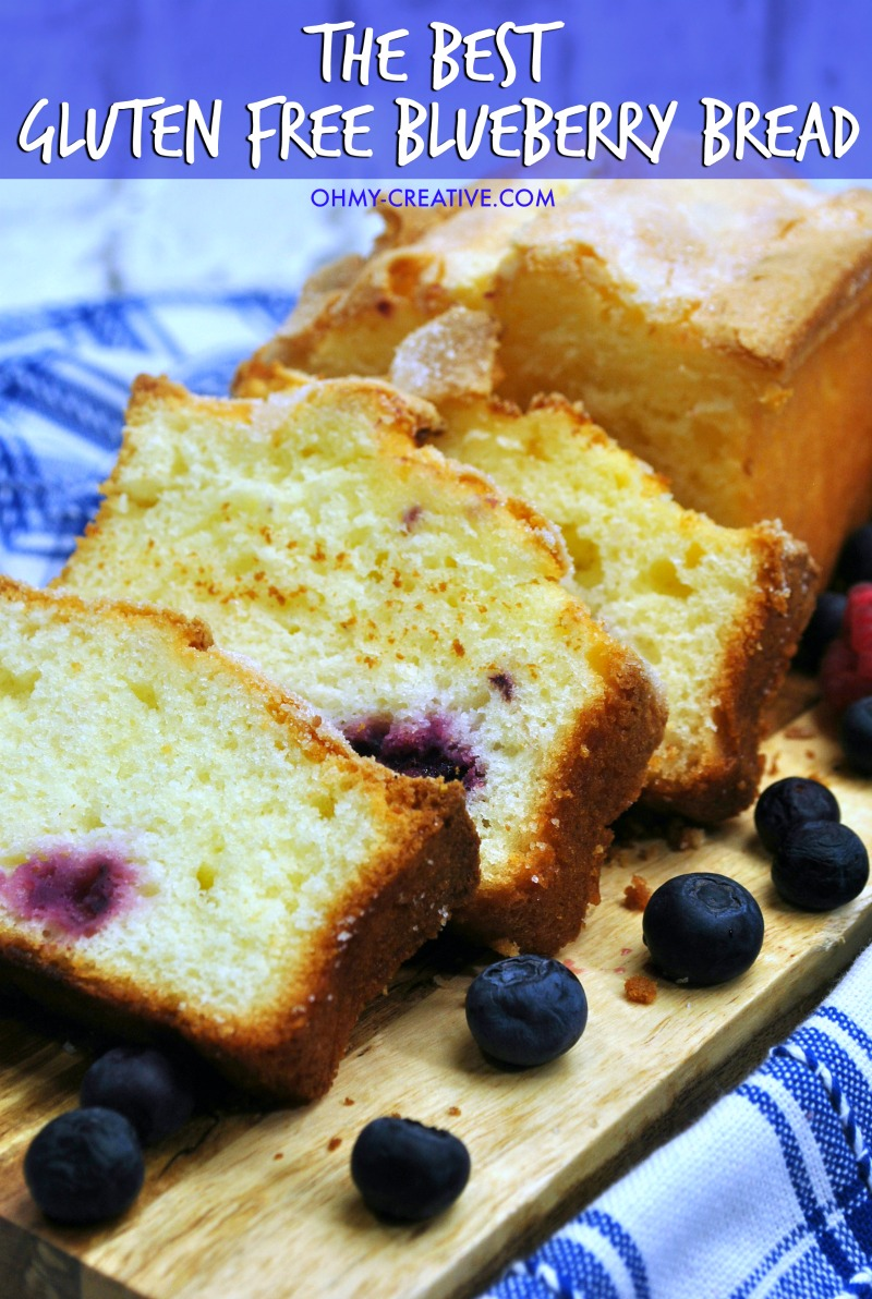 Gluten Free Blueberry Bread Loaf With Raspberries