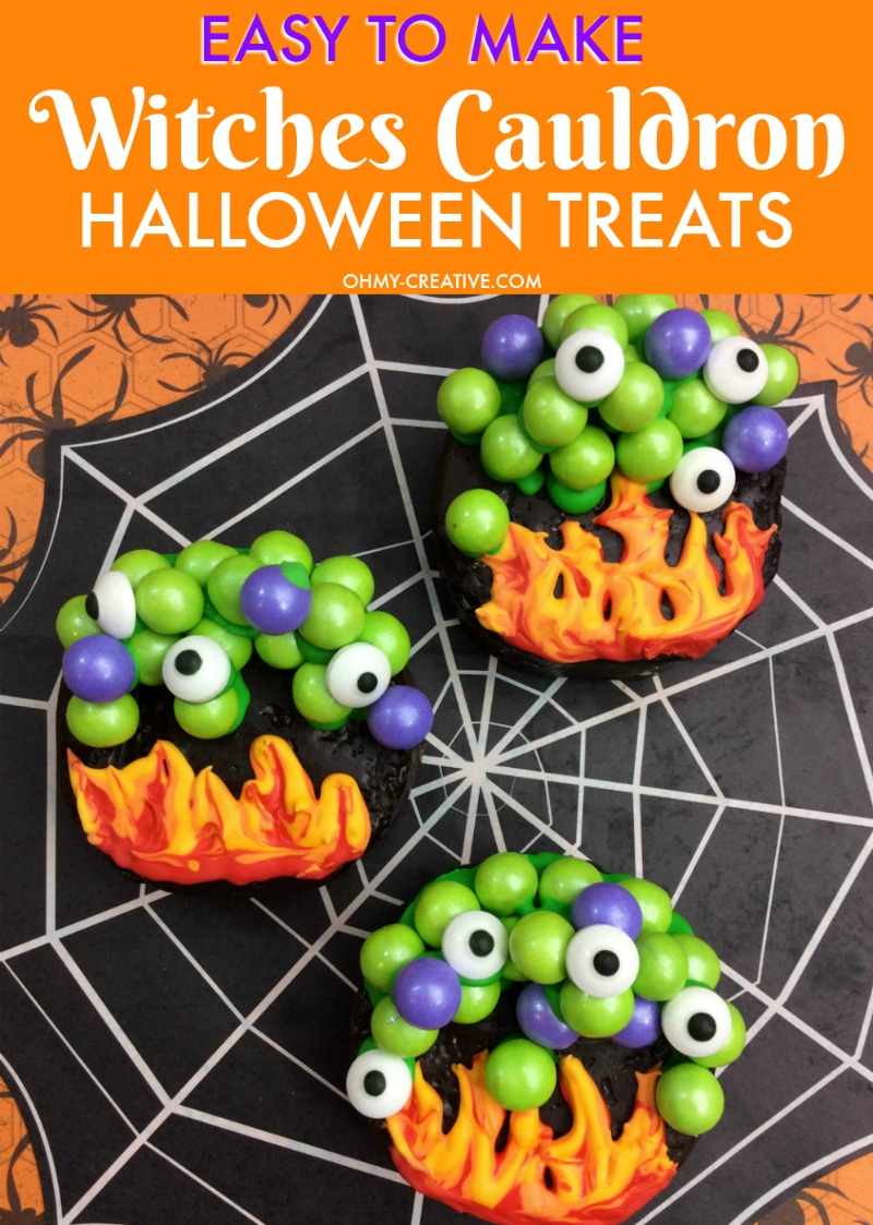 These Witches Cauldron Halloween Treats are easy to make when you use colored chocolate candies and pre-made chocolate cakes! A perfect Halloween party treat! OHMY-CREATIVE.COM | #halloween #halloweentreats #halloweendessert #halloweencake #witchescauldron