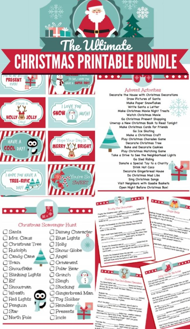 "Christmas Printable Bundle for kis - a family tradition for Christmas and Christmas Eve. Includes 18 Christmas Themed activity sheets, lunch box notes, games, Santa letter, ""Nice List"" certificate and an adorable printable label for the Christmas Eve box! Use them throughout December to get the kids excited about Christmas. Fun for all ages! 