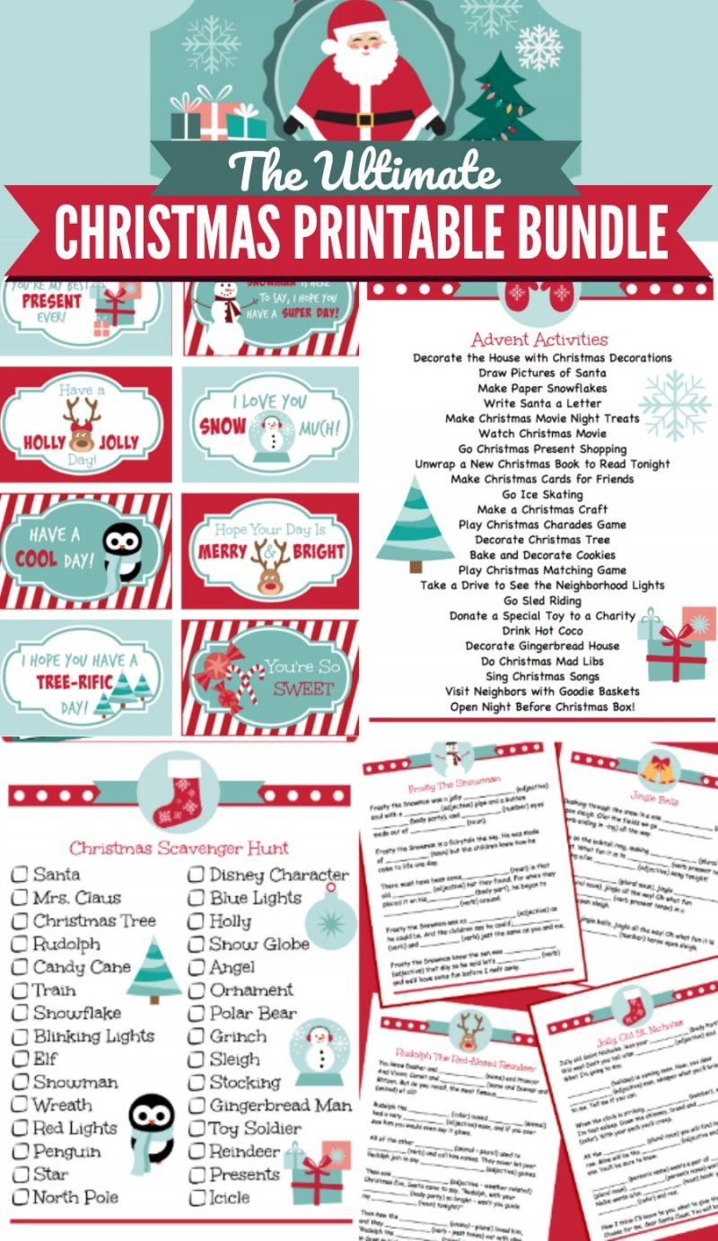"From toddlers to teens start a new family tradition on Christmas and Christmas Eve with this Ultimate Christmas Printable Bundle Collection! Includes 18 Christmas Themed activity sheets, lunch box notes, games, Santa letter, ""Nice List"" certificate and an adorable printable label for the Christmas Eve box! Use them throughout December to get the kids excited about Christmas. Fun for all ages! 