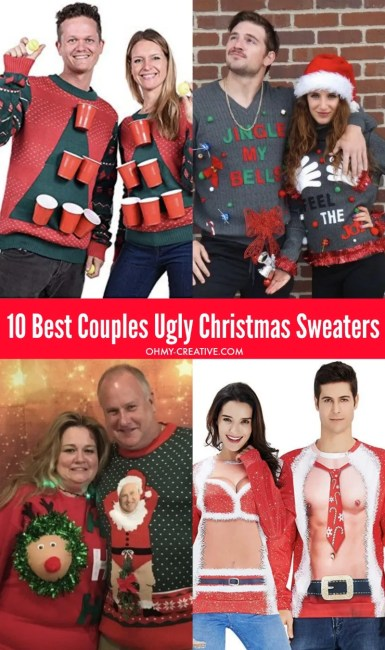 Head to the party in these 10 Best Couples Ugly Christmas Sweaters!These funny Christmas sweaters will be a big hit with friends - maybe even win a prize! #uglychristmassweater #uglychristmassweaterparty #funnychristmassweater #coupleschristmassweaters