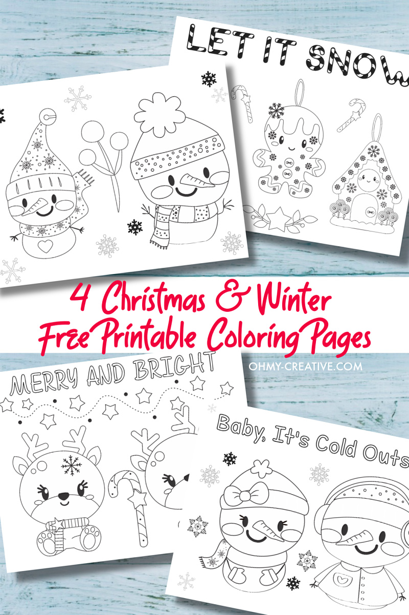 4 free printable kids christmas coloring pages pdf - oh my creative