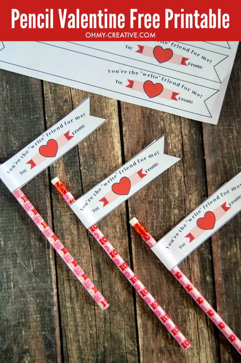Free Pencil Valentine Printable Banner The Kids Will Love