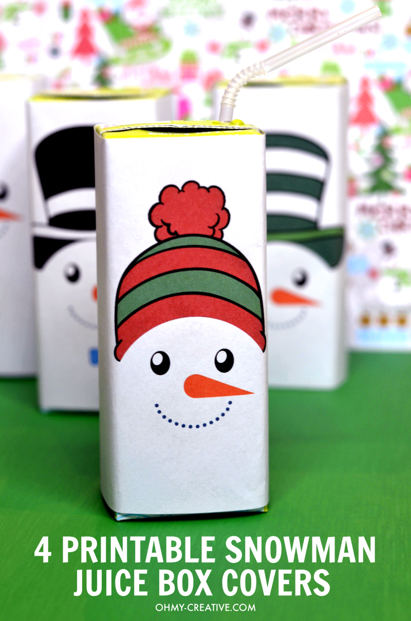 These Free Snowman Juice Box Covers Printables include four adorable designs. Perfect for winter parties or Christmas celebrations! OHMY-CREATIVE.COM #juiceboxcovers #snowmanprintables #christmasprintables #freeprintables #snowman #snowmanprintablesfreetemplet