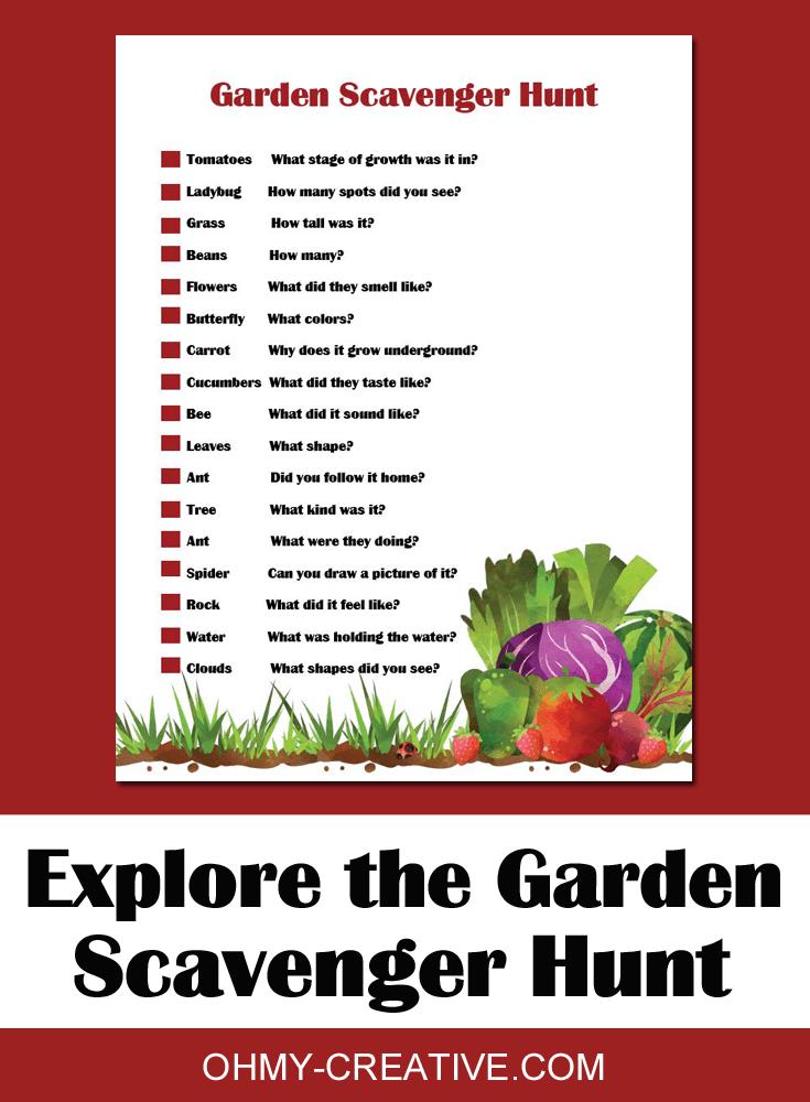 garden scavenger hunt pdf printable