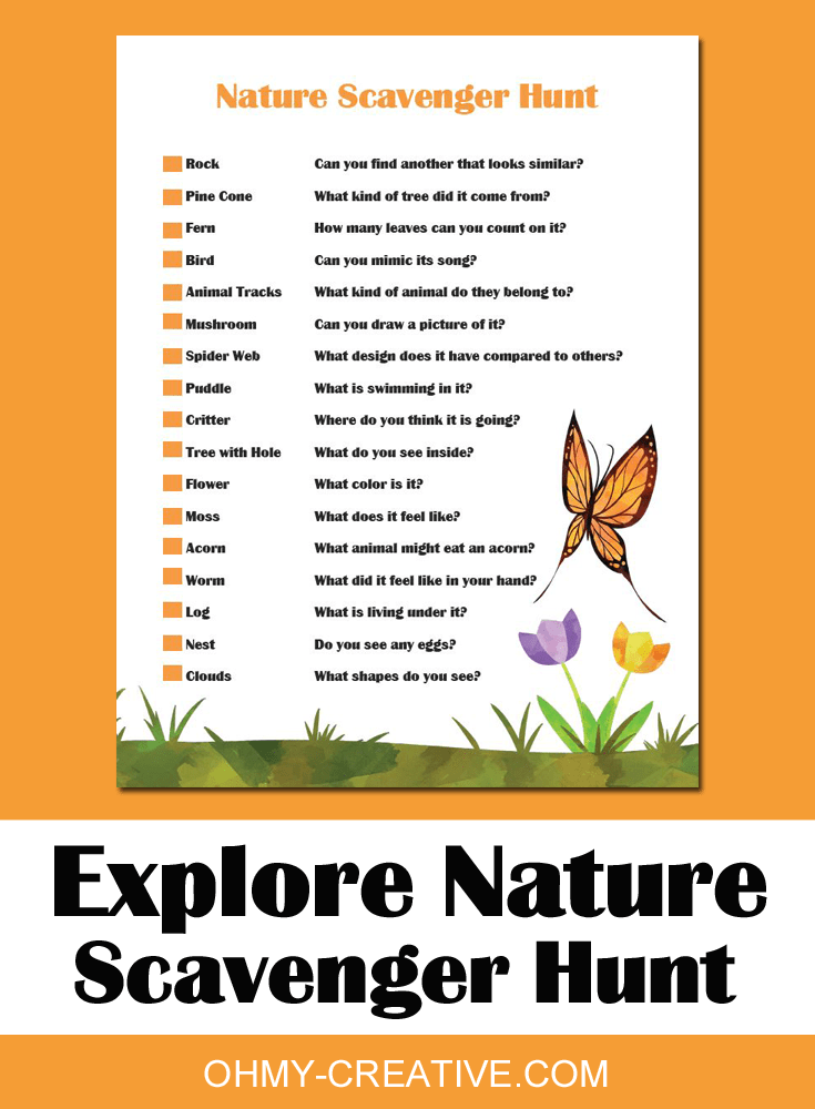 graphic about Printable Nature Scavenger Hunt named Enjoyment Character Scavenger Hunt Printables For Young children - Oh My Innovative